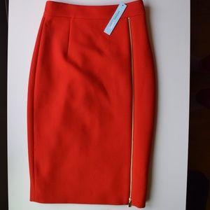 NWT Antonio Melani red pencil skirt w/ gold zipper